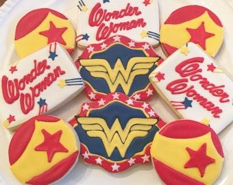Wonder Woman Cookies | Wonder Woman | Super Hero Cookies | One Dozen