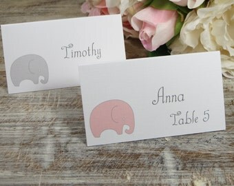 Elephant baby shower place cards, elephant party placecards, birthday party seat assignments, kids place cards