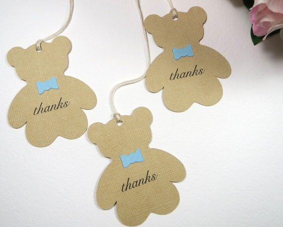 teddy baby shower favor tags boy baby shower thank you tags