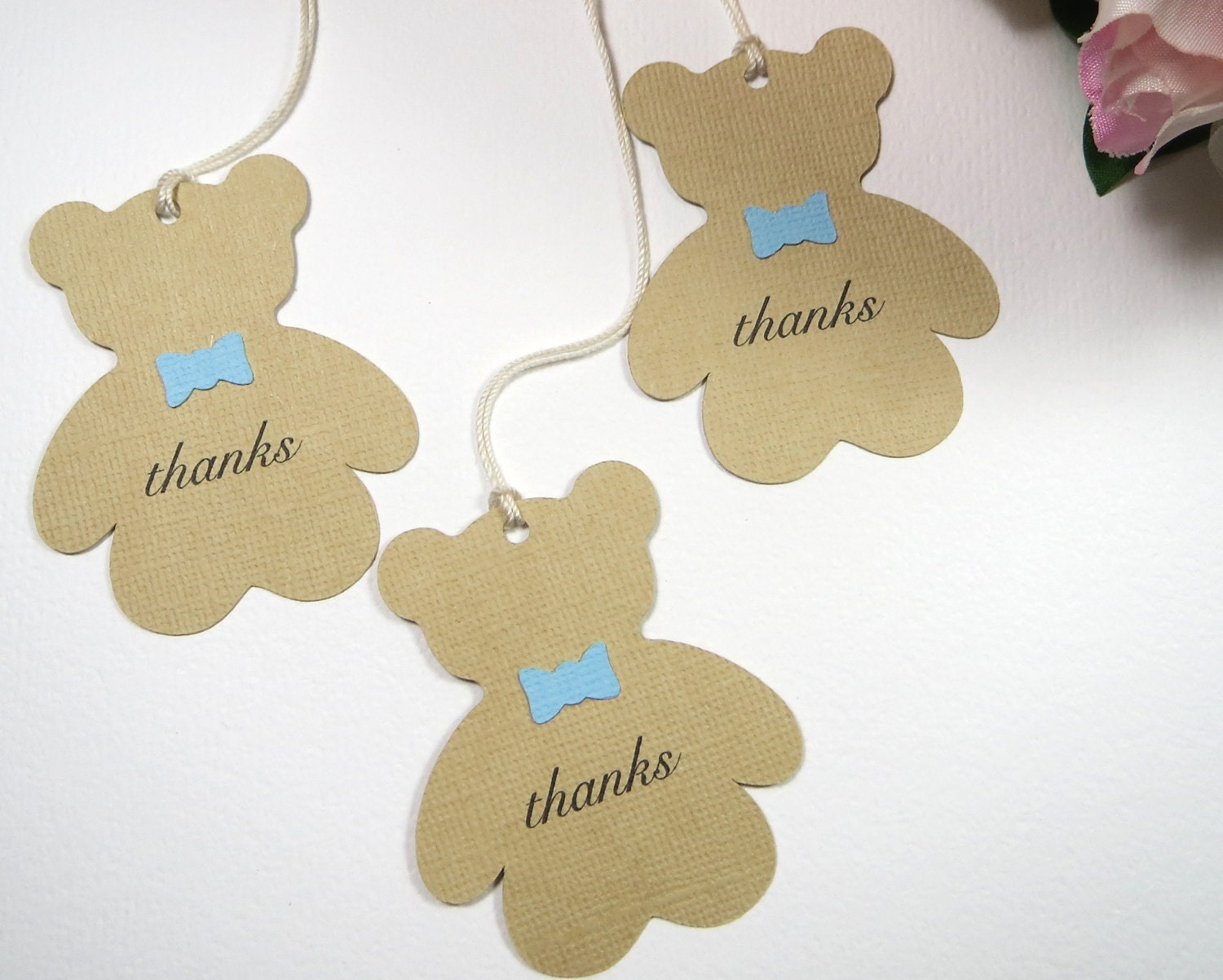 Baby Shower Tags Images ~ Teddy bear baby shower favor tags boy thank you