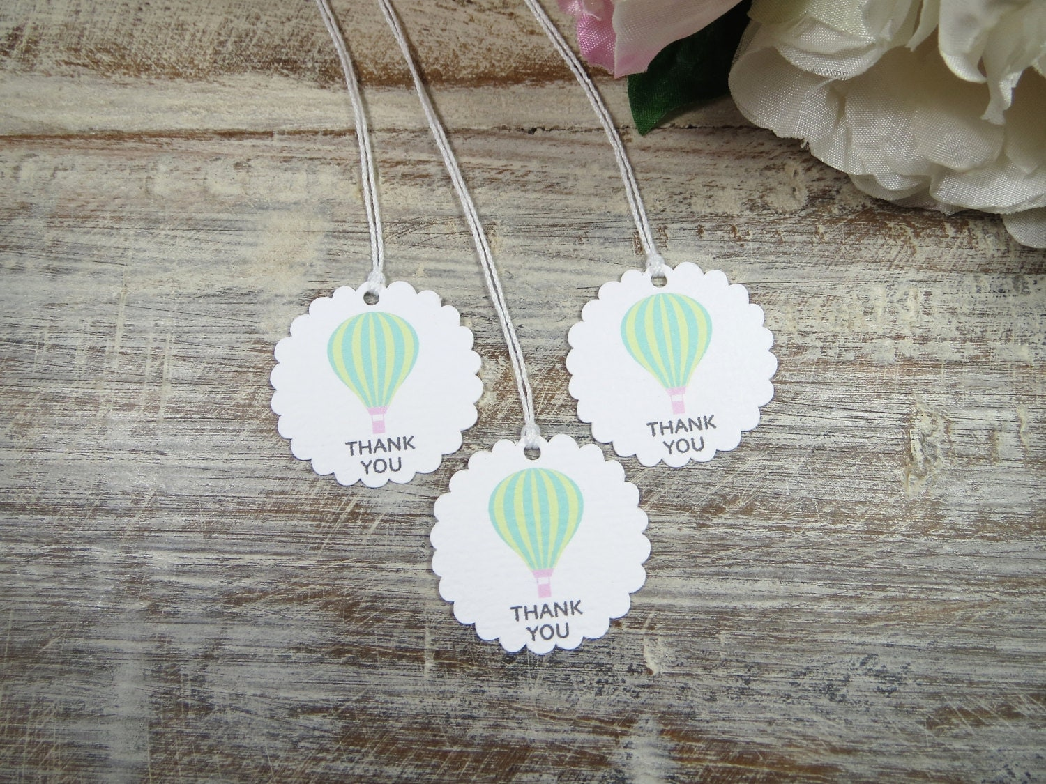 Baby Shower Favors Hot Air Balloons ~ Hot air balloon party baby shower favor tags by