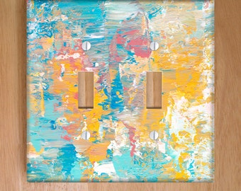 Winter Sunrise Vinyl Double Light Switch Cover. Abstract Painting, Modern Art, Knife Painting, Pastel Light Cover, Vinyl Sheet, Pastel Decor