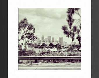 DTLA Photo Print. Downtown Los Angeles, California Photography, Travel Photography, City, Square Photo, Black and White, Downtown Skyline
