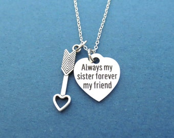 Always my sister forever my friend, Cupid's arrow, Heart, Necklace, Birthday, Best friends, Sister, Gift, Jewelry