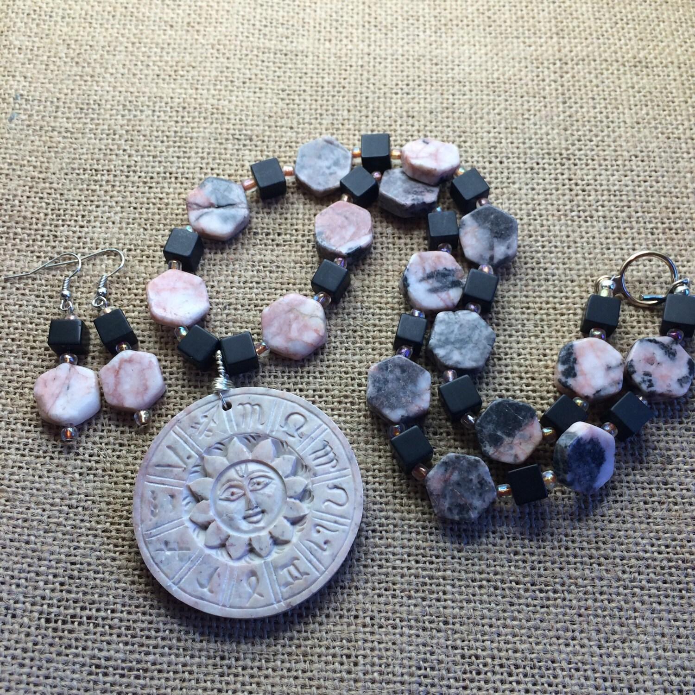 Geschnitzte Speckstein Sternzeichen Halskette und Ohrringe