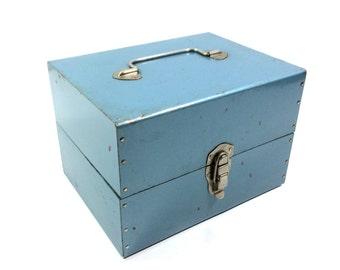 Vintage Blue Metal Film Reel Case or 8mm Movie Reel Storage Box
