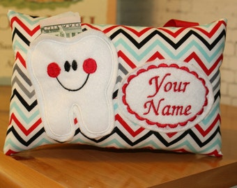 Tooth Fairy Pillow - Personalized Tooth Fairy Pillow - Chevron Fabric - Boys Tooth Fairy Pillow - Tooth Pillow - Tooth Certifcate