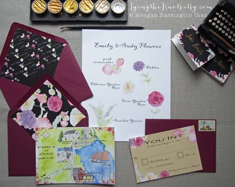 Watercolor Wedding Invitations - Custom Wedding invites - Envelope Liners - Place Cards - Gold and Black Wedding - custom name cards