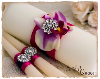 Fuchsia Unity Candle Set, Fuchsia Wedding Candles, Fuchsia Wedding Candle Set, personalized Wedding Candles, Custom Color Candles