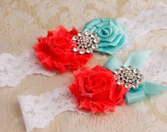 Lace Wedding Garter Set, Vintage Garter, Lace Garter, Bridal Garter Set, Garter - White lace, Aqua and Coral Flower Garter Set