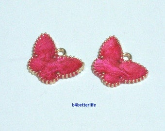 """Lot of 24pcs """"Butterfly"""" Gold Color Plated Enameled Metal Charms. #HY1073."""