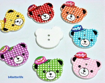 Pack of 14pcs Assorted Colors 2-holes Wooden Buttons For Crafting, Knitting, Scrapbooking. #Bear.