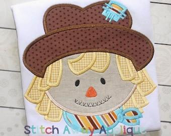 Scarecrow Boy Thanksgiving Fall Autumn Machine Applique Design