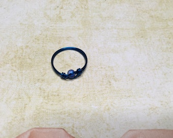 Cute dark blue wire wrapped ring