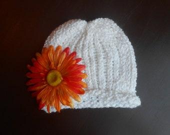 Handmade infant girl white beanie hat with orange detachable flower clip
