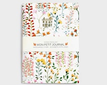 Notebook, journal, diary, flowers pattern, floral, A6, handmade, stationery, carnet, rose, fleurs, journal intime, christmas gift