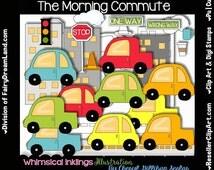 Morning Commute Digital Clip Art & Black and White Image Set, Commercial Use, Instant Download, Digital Stamp, Line Art, Transportation, Ca