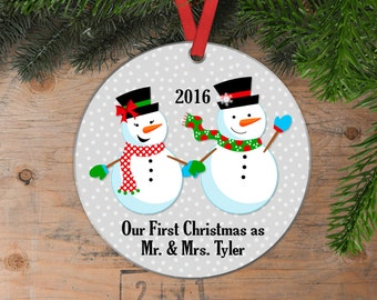 Our First Christmas Ornament - Personalized Wedding Gift Snowmen Christmas Ornament