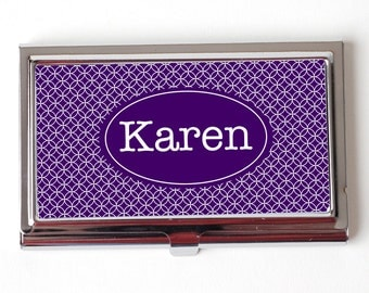 Custom Business Card Case - Personalized Business Card Case - Personalized Geometric Royal Purple Business Card Case