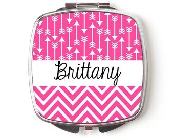 Custom Bridesmaids Gifts - Personalized Compact Mirror - Pink Wedding - Personalized Bridesmaids Gifts
