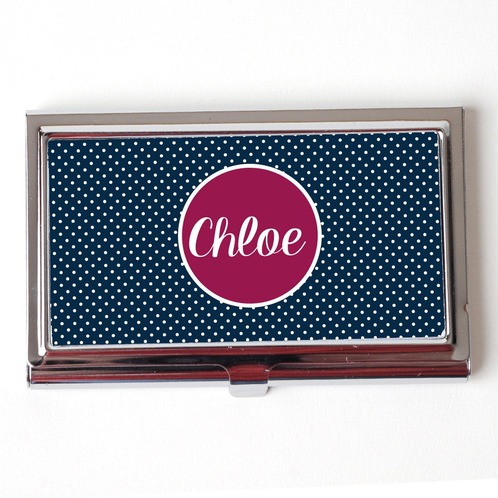 Personalized Business Card Case Navy Blue & Plum by