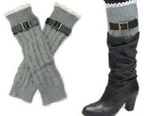 Lace trimmed Gray buckle boot cuff /leg warmers