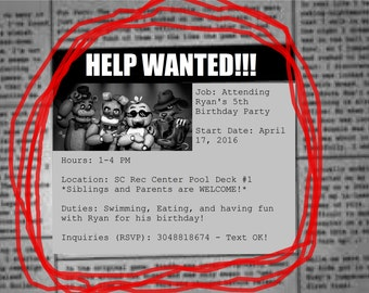 CUSTOMIZABLE Digital File Only FNAF Five Nights at Freddy's Inspired Birthday/Party Invites - DIGITAL file only