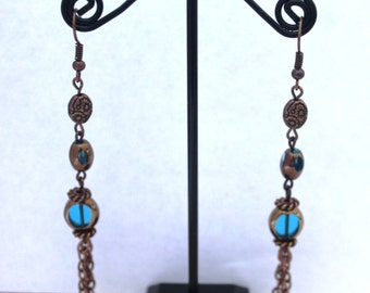 Copper chain tassel windowpane bead earrings     AT021816