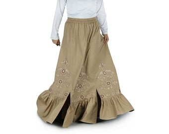 Beige Numa Embroidered Cotton Long Skirt AS011 Islamic Formal, Daily & Casual Wear Made In Poplin 100% Cotton Fabric, Muslim Ladies Skirt