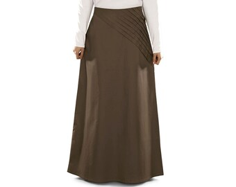 MyBatua Women's Isa Brown Cotton Skirt | AS-003 | Islamic Clothing | Muslim Ladies Long Bottom | Formal & Daily Wear