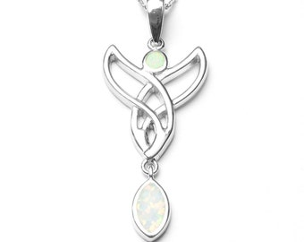 Snow Opal Celtic Pendant & Chain, Sterling Silver White Opal, 925 Silver Pendant, Opal Jewelry, Silver Jewelry