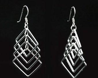 Sterling Silver Earrings, Long Drop Silver Dangle Earrings, Real Silver Earrings, Silver Wirework Earrings, 925 Earrings, Geometric Design