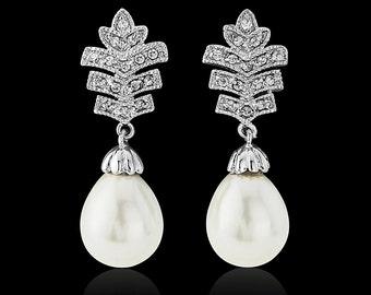 Pearl Bridal earrings, Pearl Drop  earrings, ivory pearl earrings, pearl drop wedding earrings,Gatsby style earrings