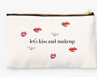 Cute Makeup Pouch with Gold Zipper: Let's Kiss and Makeup {Cosmetic Case, Makeup Case}