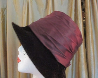 Cloche Hat in Brown and Satin