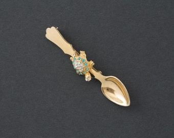 Vintage Spoon Brooch with Rhinestone Turtle