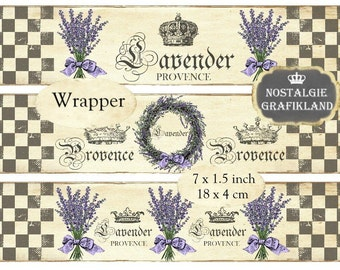 French Lavender Wrapper Country Provence Wreath Herbs Soap Instant Download digital collage sheet E124