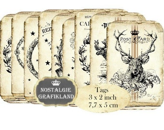 Reindeer Tags Deer Elk Instant Download digital collage sheet Vintage Style Gift Tags Postcards T070
