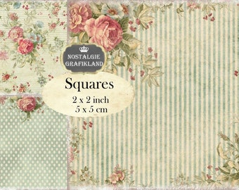 Shabby Chic Background 2x2 inch squares Instant Download digital collage sheet TW100 roses