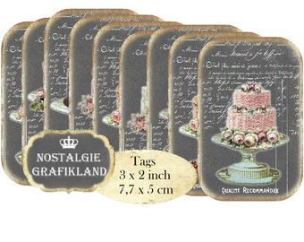 Tags Chalkboard Patisserie Wedding Cakes Instant Download digital collage sheet T137