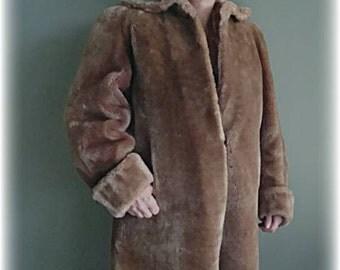 1950's brown mouton fur coat