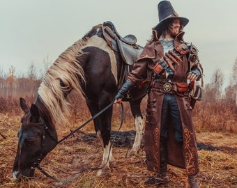 Handmade Leather Long coat of the Fallen Explorer / witch hunter / Warhammer / LARP / Fantasy style / leather coat / geek / trench coat