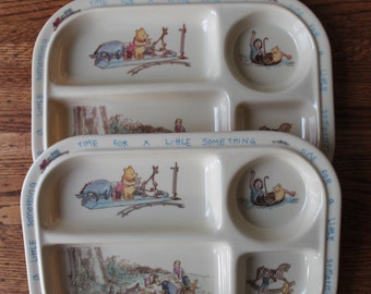 Vintage Winnie the Pooh Melamine Children's plate 90s Dishwasher safe sectional plate