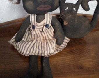 Primitive Black Folk Art  Doll and Cat