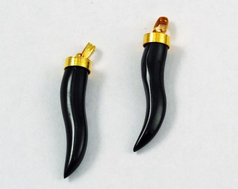Pair of Black Horn Tooth Pendants - Lucky Amulets