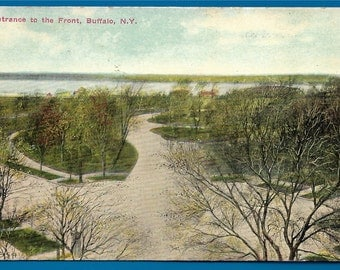 Vintage Postcard - Entrance to The Front (Delaware Park-Front Park System)  Buffalo, New York (1777)