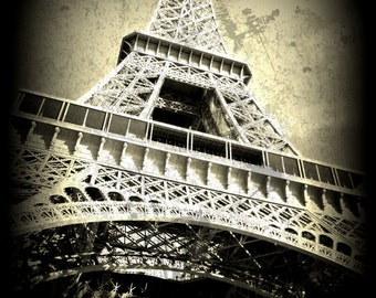 Eiffel Tower Print, Eiffel Tower Art Print, Bronze-Metal Look. Eiffel Tower Decor,