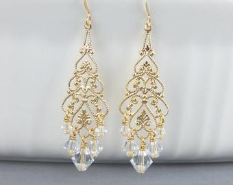 Gold Vintage Chandelier Earrings Gold Chandelier Earrings