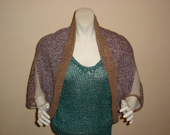 SALE PRICED REDUCED Hand Knit Tweed Shrug. Purple/oatmeal tweed with Tan Trim. Cotton/linen Shrug . Will fit Small and Medium