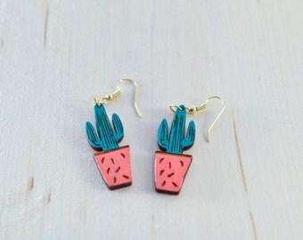 Cactus Dangle Earrings  | Cactus jewelry | Wood painted earrings | Earrings & Necklace Set